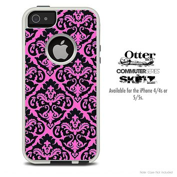 The Mirrored Pink & Black Pattern Skin For The iPhone 4-4s or 5-5s Otterbox Commuter Case