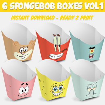6 Popcorn Box Spongebob Vol 1 - box popcorn Bob Esponja Vol 1