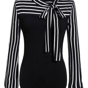 Stripe Bow Tie-neck Lantern Sleeve Blouse