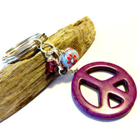 Hippie Keychain, Cool Car Accessories, Peace Symbol Key Chain, Colorful Key Fob Made With Swarovski Crystal Elements, Gift for Teens