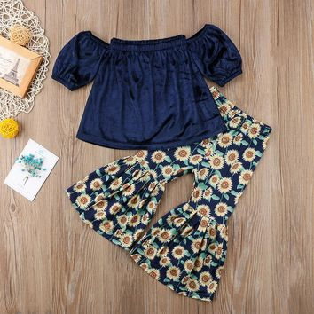 Sunflower Off Shoulder Bell Bottom Outfit
