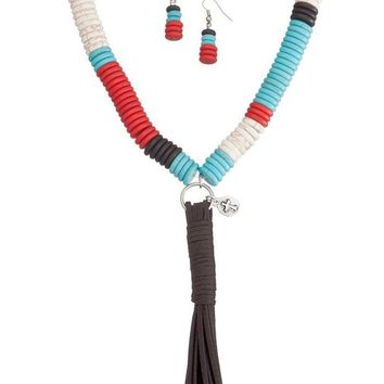 DCCKAB3 West and Co. Faux Turquoise, Red, White and Black Large Bead Necklace Set