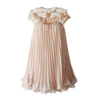 Women Dresses  Brand Design Vestidos Elegant Party Casual Vintage Apricot Short Sleeve Lace Pleated Chiffon Dress D64827