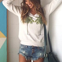 Wildfox Couture Twin Palms V-Neck Baggy Beach Jumper in Vintage Lace