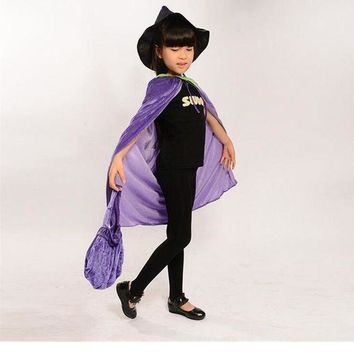 PEAPON Children Halloween Purple Vampire Bats Performance Costume Cloak Princess Skirt Cosplay