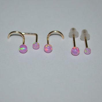 Gold Pink 3mm Opal Tragus Stud / Ring - Small Nose Ring, cartilage,helix 18g nose stud 18 gauge jewelry