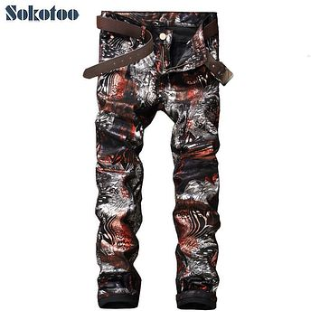 Sokotoo Men's fashion slim 3D print PU pants Casual painted long trousers