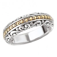 925 Silver Scroll & Dot Filigree Ring with 18k Gold Accents- Size 7