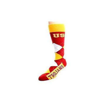 NCAA USC Trojans Argyle Unisex Crew Cut Socks - One Size Fits Most