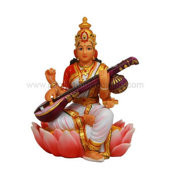Saraswati Playing the Veena Instrument Hindu Goddess Statue