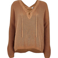 Brown knitted lace-up slouchy sweater - sweaters - knitwear - women