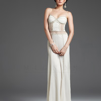 (PRE-ORDER) Mignon 2013 Prom Dresses - Ivory Embroidered Illusion Back Prom Dress