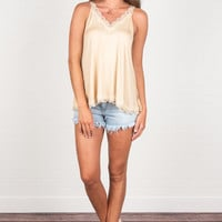 Lined With Lace Tank, Honey