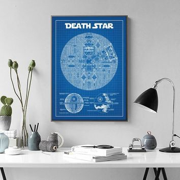 Star Wars Death Star Blueprint Wall Art Paint Wall Decor Canvas Prints Canvas Art Poster Oil Paintings No Frame
