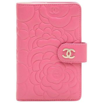 Chanel Wallet in Pink Embossed with Camellias and CC Leather