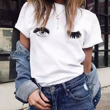 White Round Neck 3D Eyes Design Shirt
