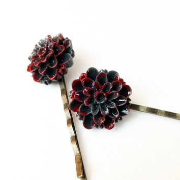 Dark Gray, Bloody Flower Hair Pin, Goth Style, Halloween Accessory, Hair Clip, Zombie Hair Piece, Dead Flower, Bobby Pin