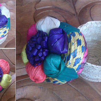 Mexican Woven Basket, Jeweler, Jewelry Candy Favor party box, Painted Corn Leaf Flower, Organizer Storage, Trinket box