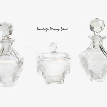Vintage Crystal Decanter Bottles, Perfume, Condiments