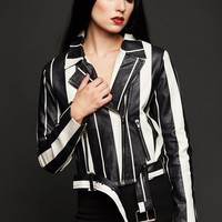 Black and White Striped Faux Leather Moto Jacket