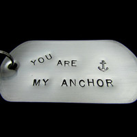 Anchor Handstamped Dog Tag Key Chain - HANDMADE by the KIDS