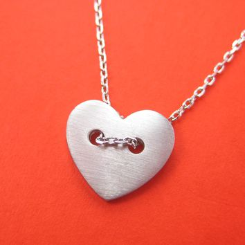 Simple Heart Shaped Button Pendant Necklace in Silver | DOTOLY