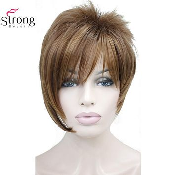 Light Auburn with Highlights Inclined Bangs Short Straight Synthetic Hair Wig For Girl