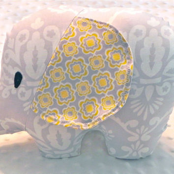 Gender Neutral Gray and Yellow Damask Stuffed Elephant Toy