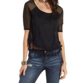 Black Mesh & Lace Tee with Crochet Tassels by Charlotte Russe
