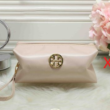 Tory Burch Newest Trending Women Stylish Zipper Toiletry Handbag Cosmetic Bag Purse Wallet Pink