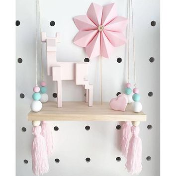 INS Nordic Style Wooden Furniture Toys for Kids DIY Wall Hanging Wooden Shelf Children Room Ornaments Decoration Wood Toys Props