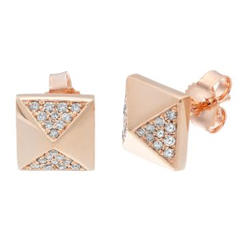 10K Rose Gold Pyramid Stud Earrings with 0.15 Cttw Diamonds