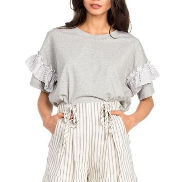 Women's Knit Tee with Ruffle Contrast Sleeves