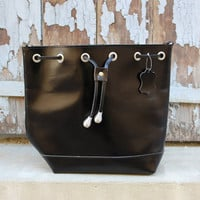 Black crossbody bag, leather bucket bag, leather womens bag
