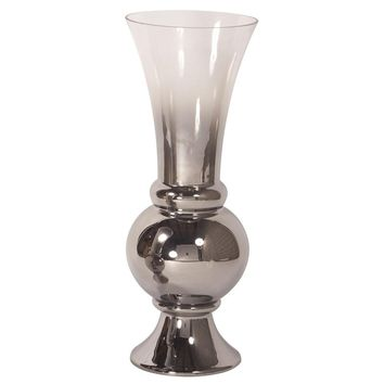 Smokey Glass Fluted Large Vase