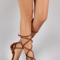 Liliana Strappy O-Ring Mid-Calf Gladiator Flat Sandal
