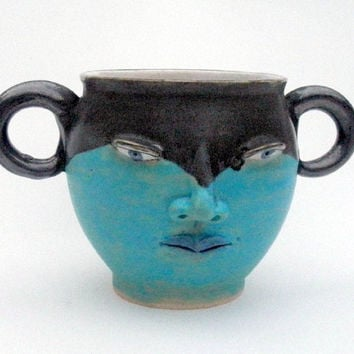 Face Mug- Double Handle Turquoise and Pewter- Folk Fantasy- pottery (was 53)