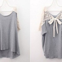 CHIC SHORT SLEEVE LACE TIE BACK TOP