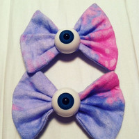 2 PASTEL GALAXY eyeball bows pastel goth spooky cute