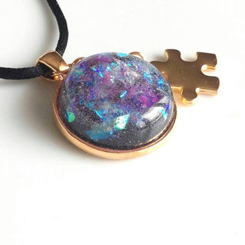 autism necklace, autism awareness jewelry, puzzle piece necklace, mother's jewelry, wearable art 18 k gold plated. Gift for autism  mom.