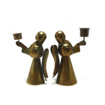 Vintage brass angel candle holders, Pair of 2, Brass decor, Taper candle holder, crafted in Mexico, holiday decor