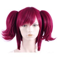 Black Butler / Kuroshitsuji Mey Rin dark red cosplay wig straight bangs with 2 layers fluffy pigtail clips