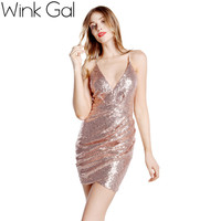 Wink Gal Party Dresses Sexy Club Dress 2015 Sequin Gowns Short Bandage Dress Beading Fashion Gown Christmas 2946