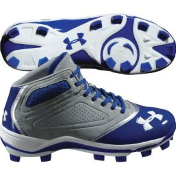 Under Armour Men's Heater Mid TPU Baseball Cleat - Gray/Blue | DICK'S Sporting Goods