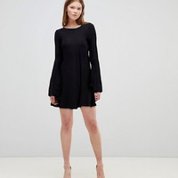 ASOS Mini Swing Dress with Seam Detail and Trumpet Sleeve at asos.com