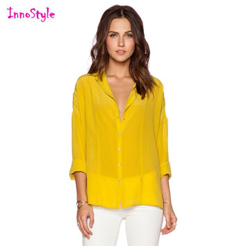 Long sleeve single breasted sheer shirts for women yellow shirts ladies blue button down shirts plus size chiffon formal blouses