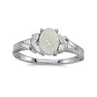 14kt White Gold 7/5mm Oval Opal and Diamond Ring