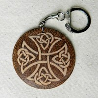 CELTIC CROSS two sided wooden key chain personalized monogrammed