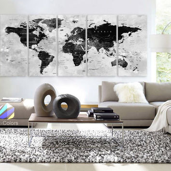 "XLARGE 30""x70"" 5 Panels Art Canvas Print Watercolor Map World Push Pin Travel Wall Black & White decor Home interior (framed 1.5"" depth)"
