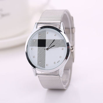 Reloj Mujer Women Watches Watch Dress Hours Silver Mesh Belt Classic Stainless Steel Wristwatch Luxury Clocks CF
